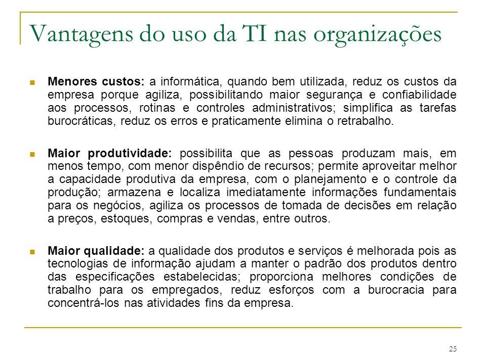25 Vantagens do uso da TI nas organizações Menores custos: a informática, quando bem utilizada, reduz os custos da empresa porque agiliza, possibilita
