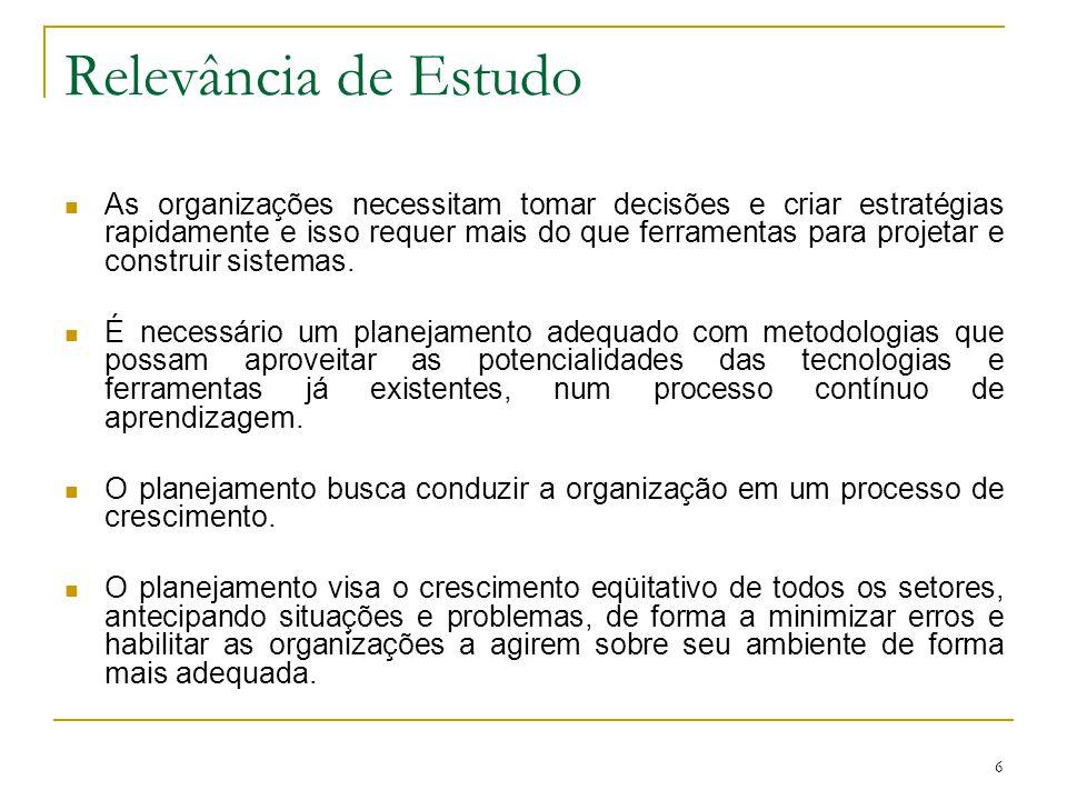 17 Importância da TI nas Organizações O propósito básico da informação, dentro do contexto organizacional, de acordo com Oliveira (1998), é o de habilitar a empresa a alcançar seus objetivos através do uso eficiente dos recursos disponíveis (pessoas, materiais, equipamentos, tecnologia, dinheiro, além da própria informação).