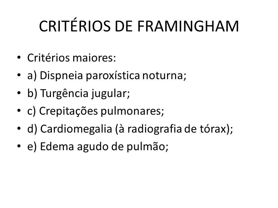 CRITÉRIOS DE FRAMINGHAM Critérios maiores: a) Dispneia paroxística noturna; b) Turgência jugular; c) Crepitações pulmonares; d) Cardiomegalia (à radiografia de tórax); e) Edema agudo de pulmão;