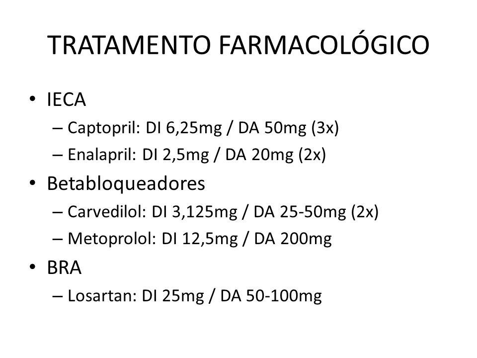 IECA – Captopril: DI 6,25mg / DA 50mg (3x) – Enalapril: DI 2,5mg / DA 20mg (2x) Betabloqueadores – Carvedilol: DI 3,125mg / DA 25-50mg (2x) – Metoprolol: DI 12,5mg / DA 200mg BRA – Losartan: DI 25mg / DA 50-100mg