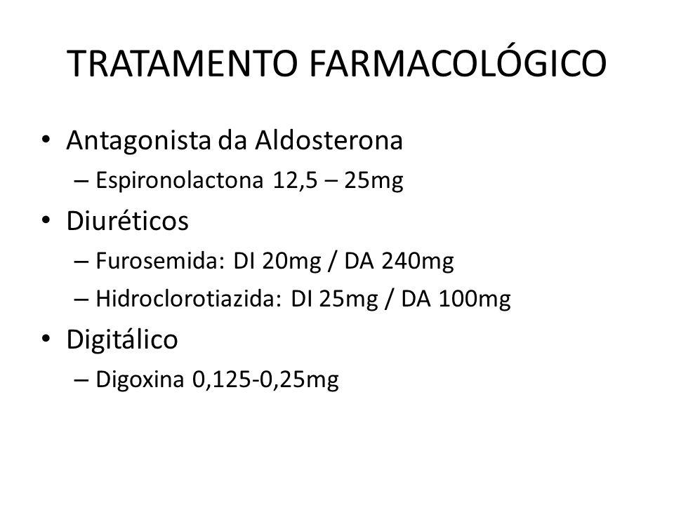 TRATAMENTO FARMACOLÓGICO Antagonista da Aldosterona – Espironolactona 12,5 – 25mg Diuréticos – Furosemida: DI 20mg / DA 240mg – Hidroclorotiazida: DI 25mg / DA 100mg Digitálico – Digoxina 0,125-0,25mg