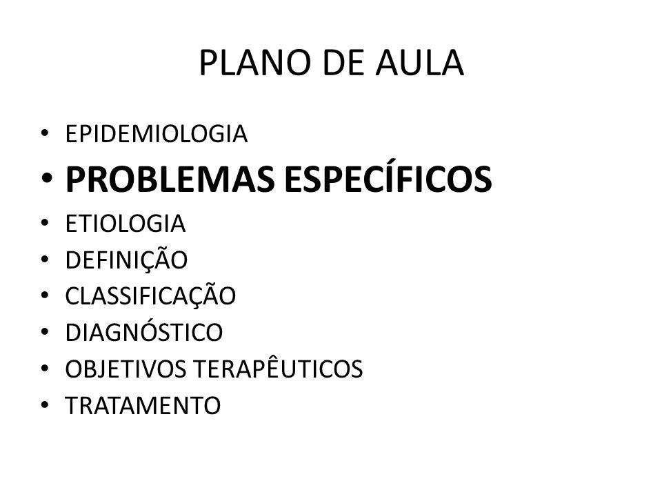 PLANO DE AULA EPIDEMIOLOGIA PROBLEMAS ESPECÍFICOS ETIOLOGIA DEFINIÇÃO CLASSIFICAÇÃO DIAGNÓSTICO OBJETIVOS TERAPÊUTICOS TRATAMENTO