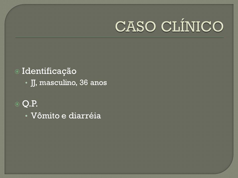 Identificação JJ, masculino, 36 anos Q.P. Vômito e diarréia