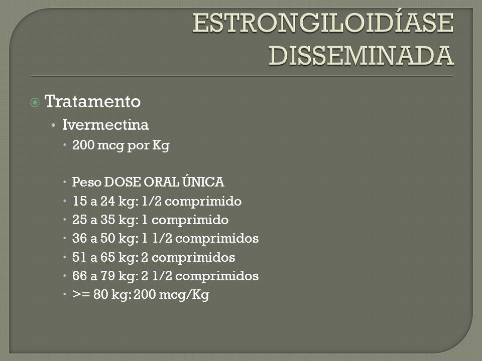 Tratamento Ivermectina 200 mcg por Kg Peso DOSE ORAL ÚNICA 15 a 24 kg: 1/2 comprimido 25 a 35 kg: 1 comprimido 36 a 50 kg: 1 1/2 comprimidos 51 a 65 k