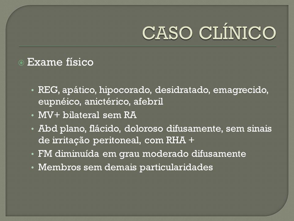 Exame físico REG, apático, hipocorado, desidratado, emagrecido, eupnéico, anictérico, afebril MV+ bilateral sem RA Abd plano, flácido, doloroso difusa