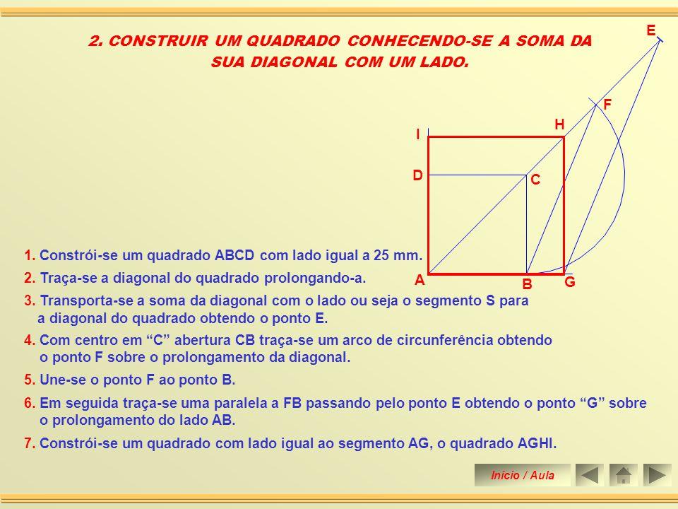 6. Une-se os pontos A, B, C e D obtendo assim a construção do quadrado. 3. Com centro em A abertura igual ao lado AB traça-se um arco de circunferênci