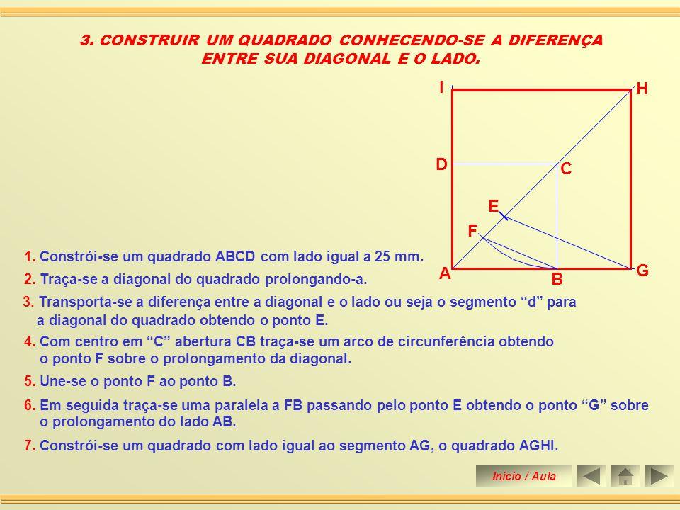 5. Une-se o ponto F ao ponto B. 1. Constrói-se um quadrado ABCD com lado igual a 25 mm. 2. Traça-se a diagonal do quadrado prolongando-a. 2. CONSTRUIR