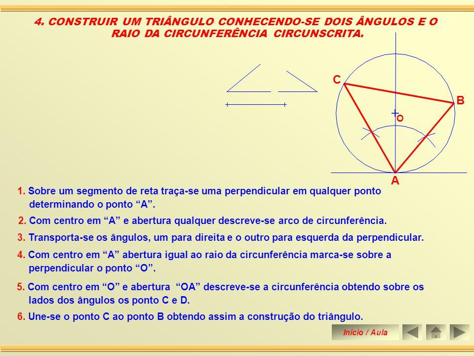 6. Une-se o ponto A e B aos pontos 1 e 2 até tocar a perpendicular traçada pelo meio de AB obtendo-se o ponto C. 3. CONSTRUIR UM TRIÂNGULO ISÓSCELES C