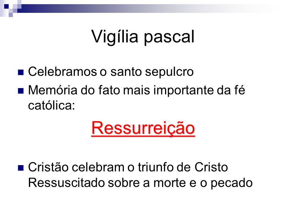 Vigília pascal Celebramos o santo sepulcro Memória do fato mais importante da fé católica:Ressurreição Cristão celebram o triunfo de Cristo Ressuscitado sobre a morte e o pecado