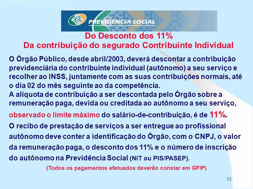 11 Do Desconto dos 11% Da contribuição do segurado Contribuinte Individual O Órgão Público, desde abril/2003, deverá descontar a contribuição previden