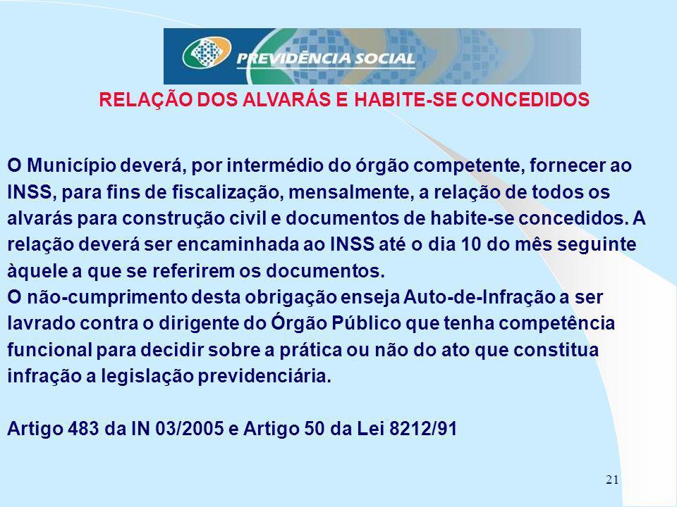 21 RELAÇÃO DOS ALVARÁS E HABITE-SE CONCEDIDOS O Município deverá, por intermédio do órgão competente, fornecer ao INSS, para fins de fiscalização, men