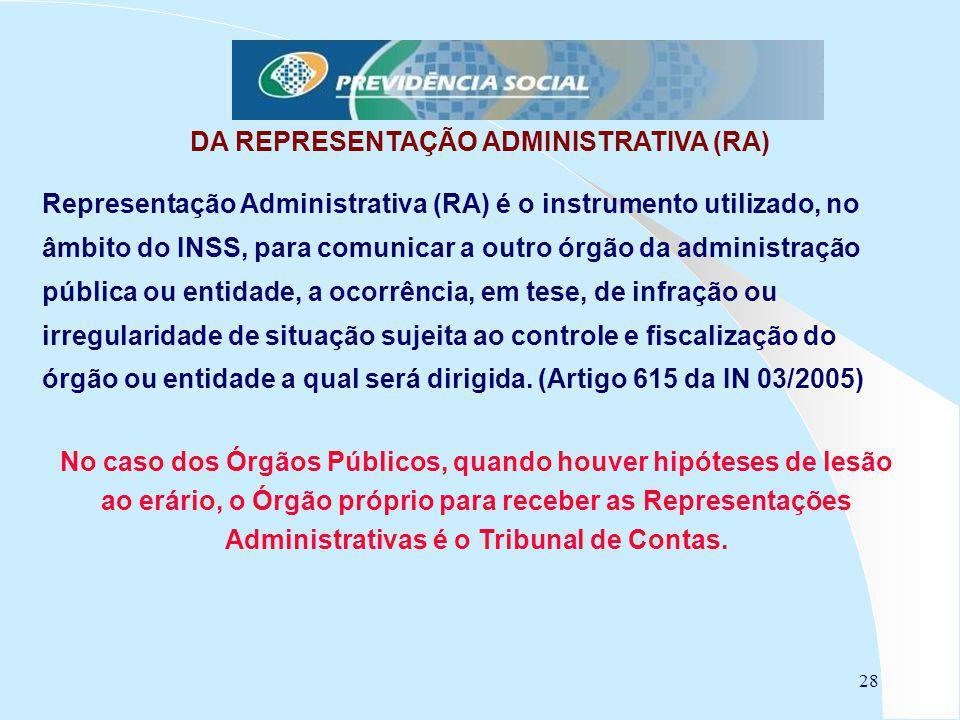 28 DA REPRESENTAÇÃO ADMINISTRATIVA (RA) Representação Administrativa (RA) é o instrumento utilizado, no âmbito do INSS, para comunicar a outro órgão d