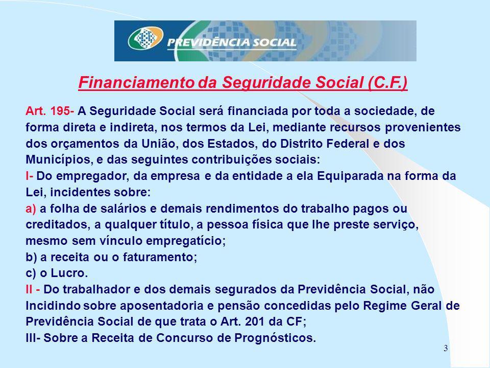 3 Financiamento da Seguridade Social (C.F.) Art. 195- A Seguridade Social será financiada por toda a sociedade, de forma direta e indireta, nos termos