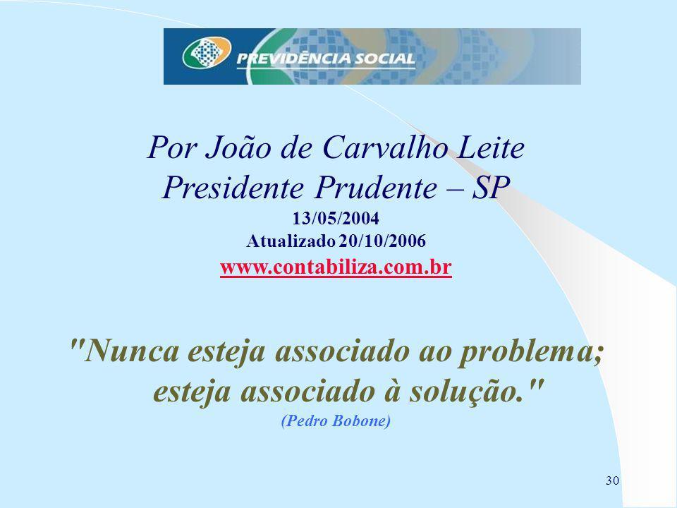 30 Por João de Carvalho Leite Presidente Prudente – SP 13/05/2004 Atualizado 20/10/2006 www.contabiliza.com.br Nunca esteja associado ao problema; esteja associado à solução. (Pedro Bobone)