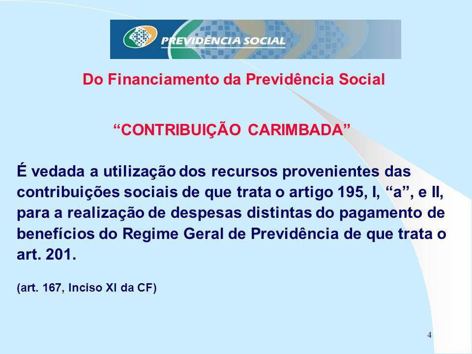 4 Do Financiamento da Previdência Social CONTRIBUIÇÃO CARIMBADA É vedada a utilização dos recursos provenientes das contribuições sociais de que trata
