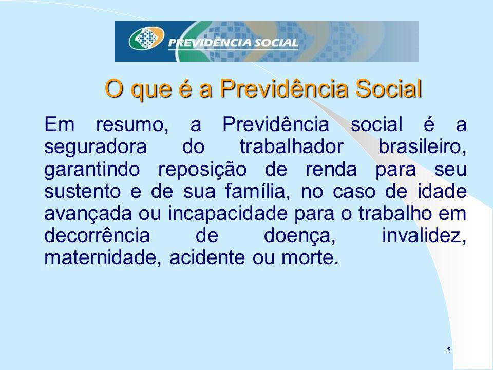 5 O que é a Previdência Social Em resumo, a Previdência social é a seguradora do trabalhador brasileiro, garantindo reposição de renda para seu susten
