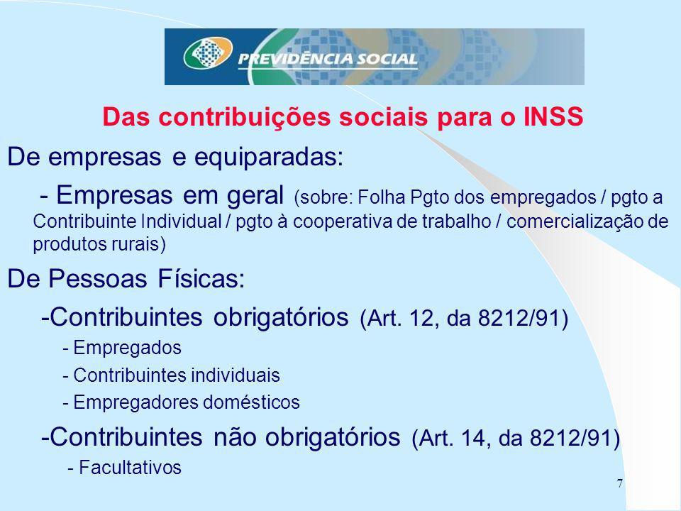 7 Das contribuições sociais para o INSS De empresas e equiparadas: - Empresas em geral (sobre: Folha Pgto dos empregados / pgto a Contribuinte Individ