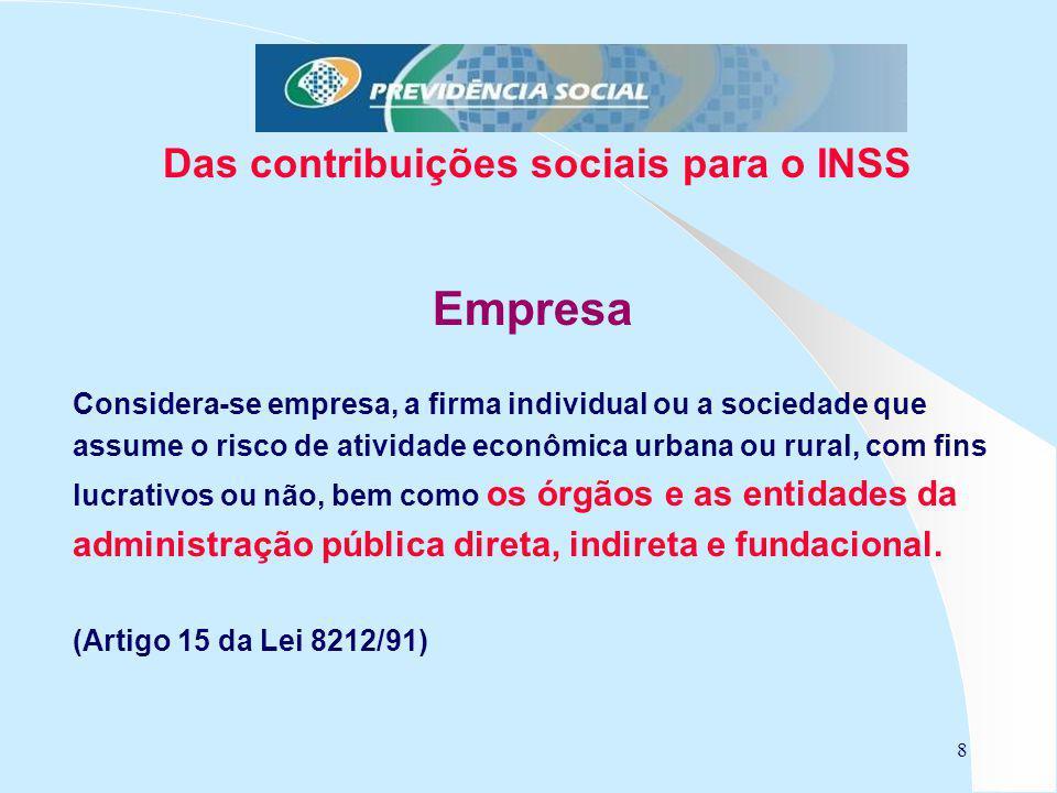 8 Das contribuições sociais para o INSS Empresa Considera-se empresa, a firma individual ou a sociedade que assume o risco de atividade econômica urba