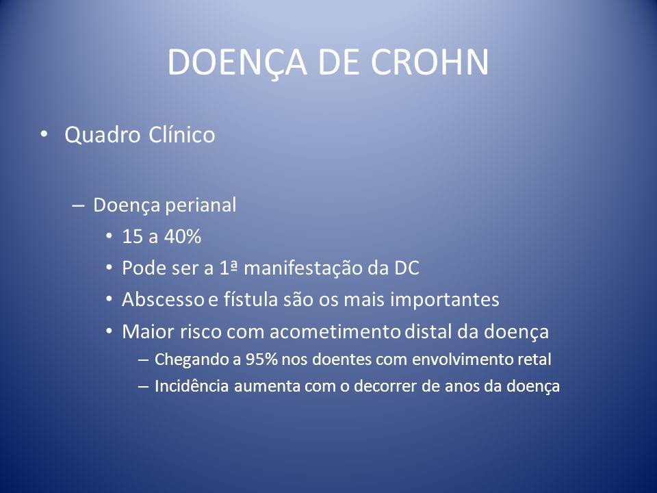 DOENÇA DE CROHN Quadro Clínico – Doença perianal 15 a 40% Pode ser a 1ª manifestação da DC Abscesso e fístula são os mais importantes Maior risco com