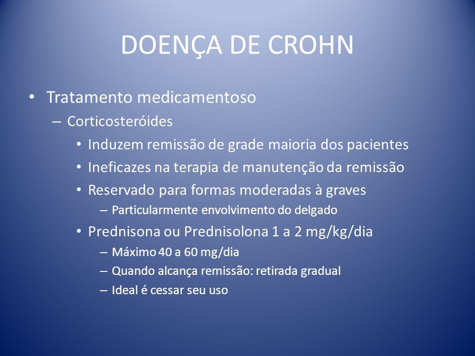 DOENÇA DE CROHN Tratamento medicamentoso – Corticosteróides Induzem remissão de grade maioria dos pacientes Ineficazes na terapia de manutenção da rem