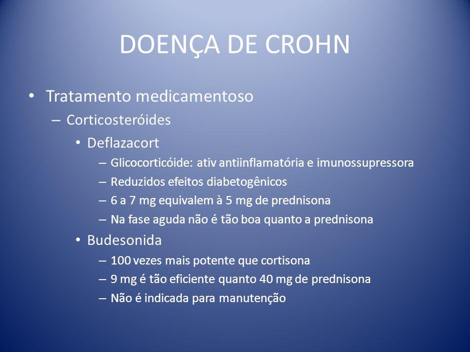 DOENÇA DE CROHN Tratamento medicamentoso – Corticosteróides Deflazacort – Glicocorticóide: ativ antiinflamatória e imunossupressora – Reduzidos efeito