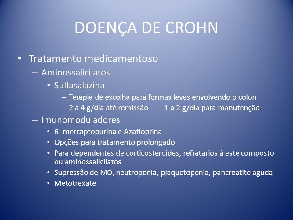 DOENÇA DE CROHN Tratamento medicamentoso – Aminossalicilatos Sulfasalazina – Terapia de escolha para formas leves envolvendo o colon – 2 a 4 g/dia até
