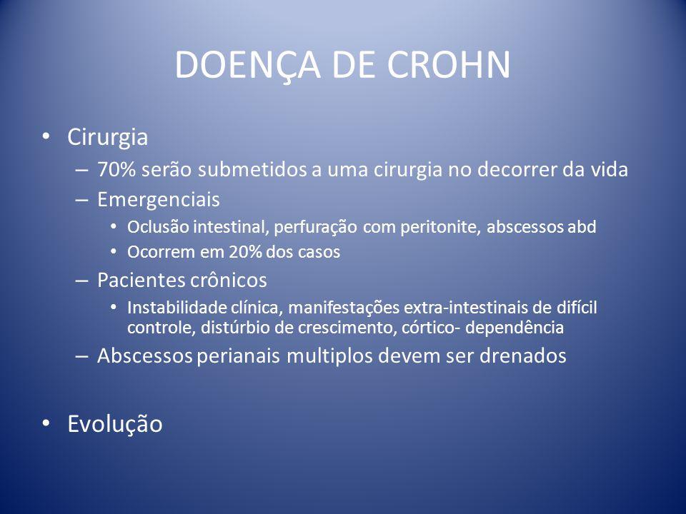 DOENÇA DE CROHN Cirurgia – 70% serão submetidos a uma cirurgia no decorrer da vida – Emergenciais Oclusão intestinal, perfuração com peritonite, absce