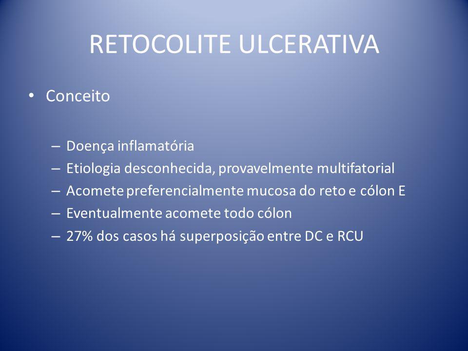 Conceito – Doença inflamatória – Etiologia desconhecida, provavelmente multifatorial – Acomete preferencialmente mucosa do reto e cólon E – Eventualme
