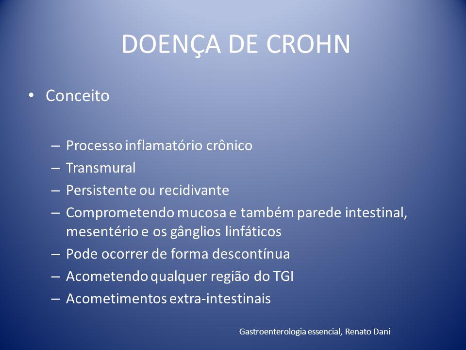 Conceito – Processo inflamatório crônico – Transmural – Persistente ou recidivante – Comprometendo mucosa e também parede intestinal, mesentério e os