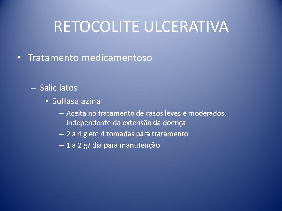 RETOCOLITE ULCERATIVA Tratamento medicamentoso – Salicilatos Sulfasalazina – Aceita no tratamento de casos leves e moderados, independente da extensão