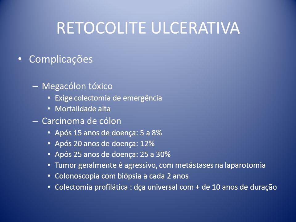 RETOCOLITE ULCERATIVA Complicações – Megacólon tóxico Exige colectomia de emergência Mortalidade alta – Carcinoma de cólon Após 15 anos de doença: 5 a