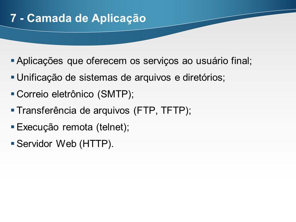 7 - Camada de Aplicação Aplicações que oferecem os serviços ao usuário final; Unificação de sistemas de arquivos e diretórios; Correio eletrônico (SMT