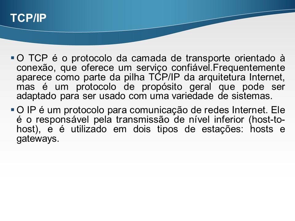 TCP/IP O TCP é o protocolo da camada de transporte orientado à conexão, que oferece um serviço confiável.Frequentemente aparece como parte da pilha TC