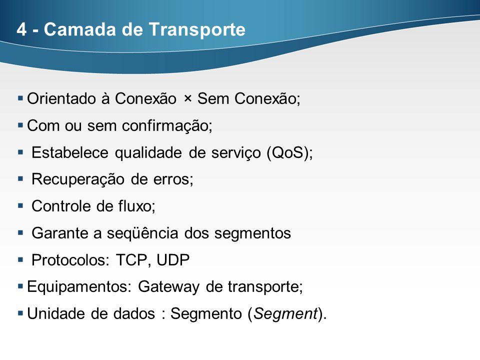 4 - Camada de Transporte Orientado à Conexão × Sem Conexão; Com ou sem confirmação; Estabelece qualidade de serviço (QoS); Recuperação de erros; Contr