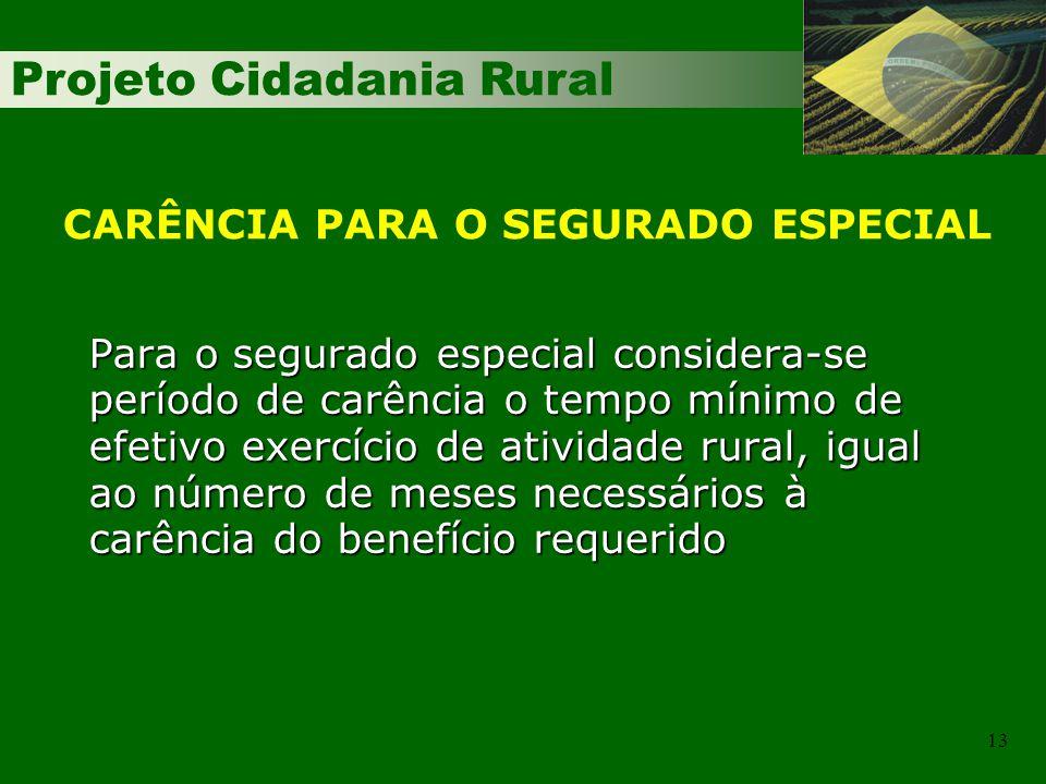 Projeto Cidadania Rural 13 Para o segurado especial considera-se período de carência o tempo mínimo de efetivo exercício de atividade rural, igual ao