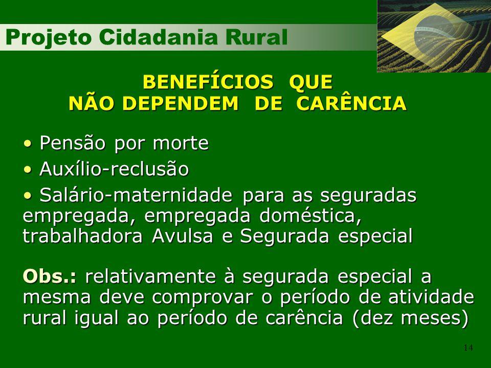 Projeto Cidadania Rural 14 BENEFÍCIOS QUE NÃO DEPENDEM DE CARÊNCIA Pensão por morte Pensão por morte Auxílio-reclusão Auxílio-reclusão Salário-materni