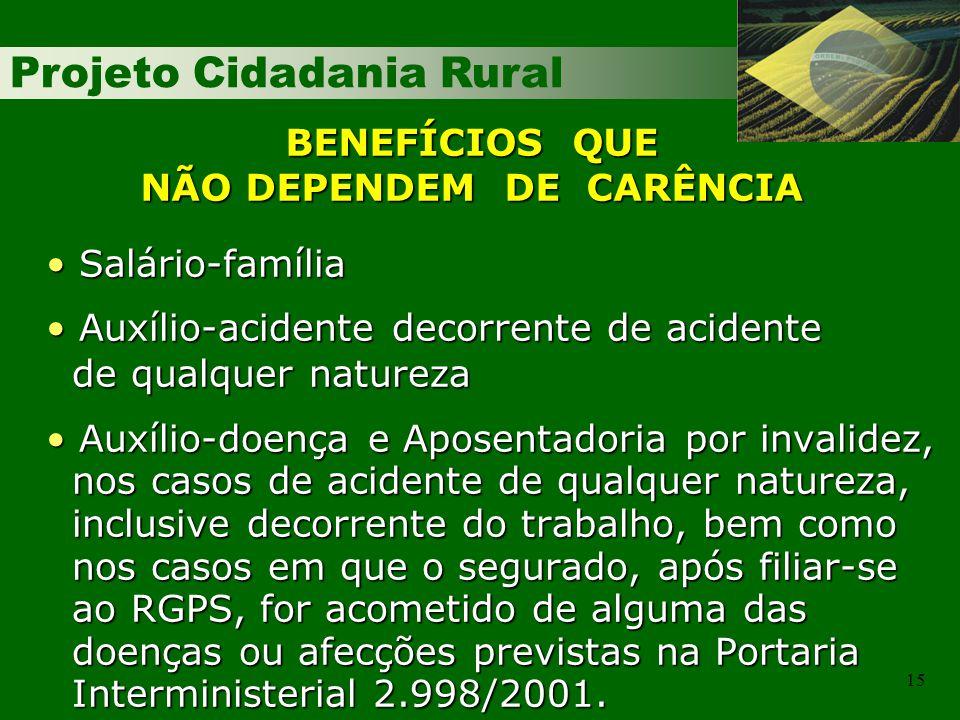 Projeto Cidadania Rural 15 Salário-família Salário-família Auxílio-acidente decorrente de acidente Auxílio-acidente decorrente de acidente de qualquer