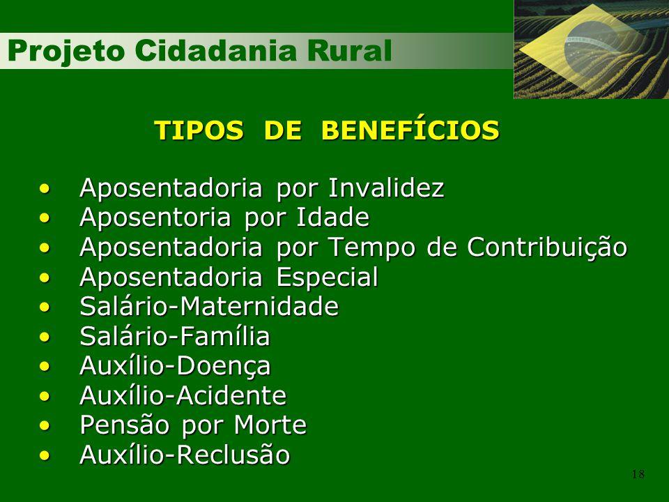 Projeto Cidadania Rural 18 Aposentadoria por InvalidezAposentadoria por Invalidez Aposentoria por IdadeAposentoria por Idade Aposentadoria por Tempo d