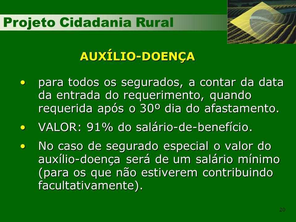 Projeto Cidadania Rural 20 para todos os segurados, a contar da data da entrada do requerimento, quando requerida após o 30º dia do afastamento.para t