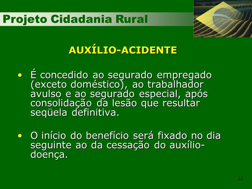 Projeto Cidadania Rural 22 AUXÍLIO-ACIDENTE É concedido ao segurado empregado (exceto doméstico), ao trabalhador avulso e ao segurado especial, após c