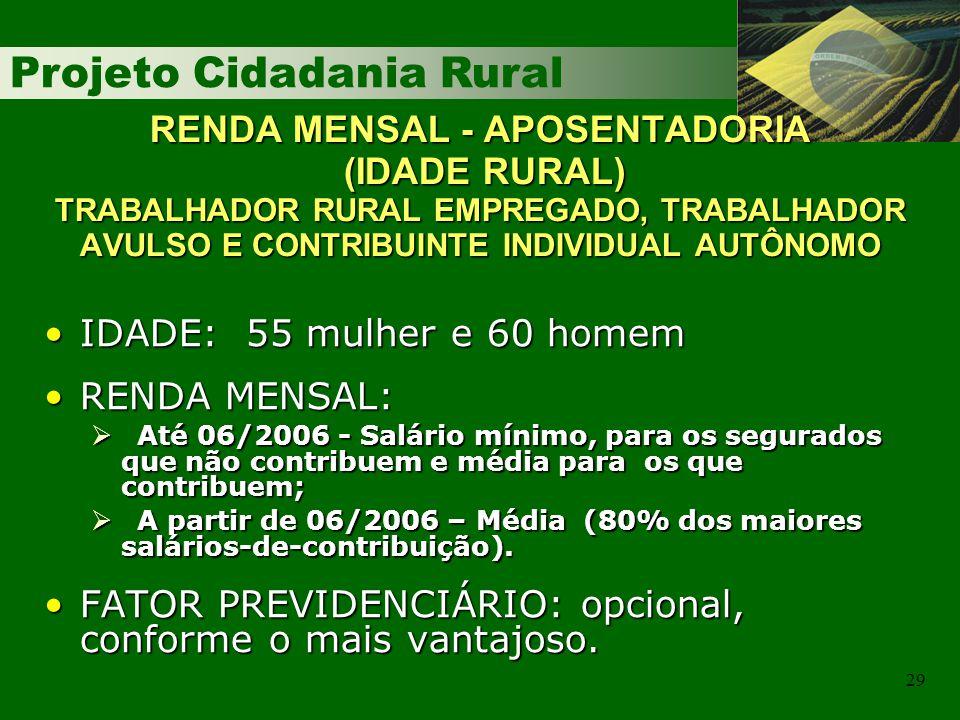 Projeto Cidadania Rural 29 RENDA MENSAL - APOSENTADORIA (IDADE RURAL) TRABALHADOR RURAL EMPREGADO, TRABALHADOR AVULSO E CONTRIBUINTE INDIVIDUAL AUTÔNO