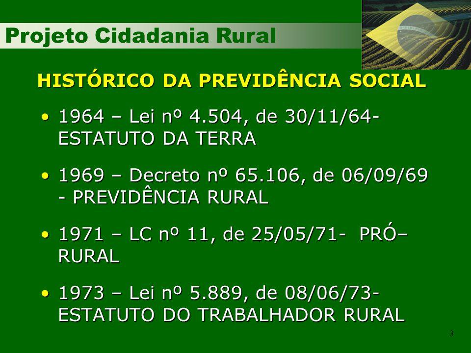 Projeto Cidadania Rural 3 HISTÓRICO DA PREVIDÊNCIA SOCIAL 1964 – Lei nº 4.504, de 30/11/64- ESTATUTO DA TERRA1964 – Lei nº 4.504, de 30/11/64- ESTATUT