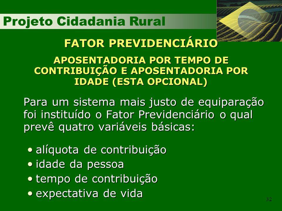 Projeto Cidadania Rural 32 FATOR PREVIDENCIÁRIO APOSENTADORIA POR TEMPO DE CONTRIBUIÇÃO E APOSENTADORIA POR IDADE (ESTA OPCIONAL) Para um sistema mais