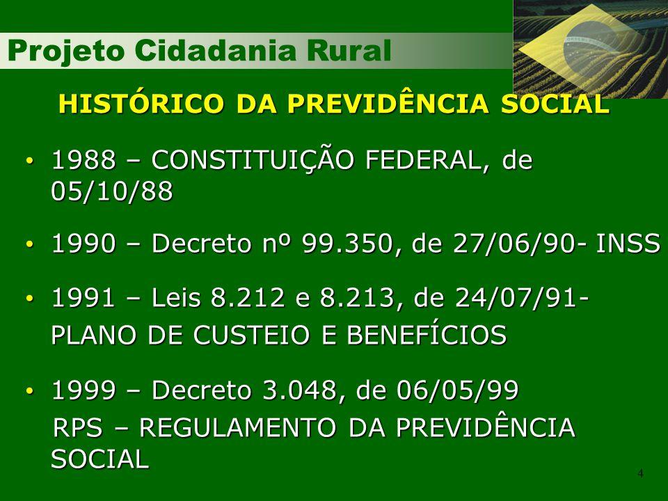 Projeto Cidadania Rural 4 HISTÓRICO DA PREVIDÊNCIA SOCIAL 1988 – CONSTITUIÇÃO FEDERAL, de 05/10/88 1988 – CONSTITUIÇÃO FEDERAL, de 05/10/88 1990 – Decreto nº 99.350, de 27/06/90- INSS 1990 – Decreto nº 99.350, de 27/06/90- INSS 1991 – Leis 8.212 e 8.213, de 24/07/91- 1991 – Leis 8.212 e 8.213, de 24/07/91- PLANO DE CUSTEIO E BENEFÍCIOS 1999 – Decreto 3.048, de 06/05/99 1999 – Decreto 3.048, de 06/05/99 RPS – REGULAMENTO DA PREVIDÊNCIA SOCIAL RPS – REGULAMENTO DA PREVIDÊNCIA SOCIAL