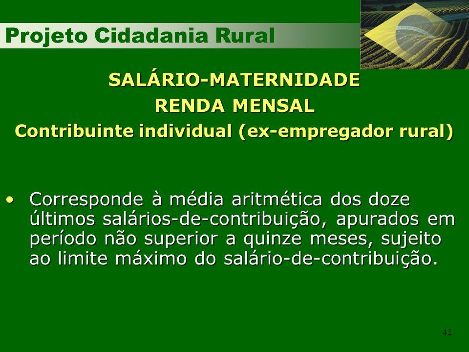 Projeto Cidadania Rural 42 SALÁRIO-MATERNIDADE RENDA MENSAL Contribuinte individual (ex-empregador rural) Corresponde à média aritmética dos doze últi