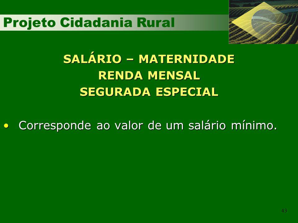 Projeto Cidadania Rural 43 SALÁRIO – MATERNIDADE RENDA MENSAL SEGURADA ESPECIAL Corresponde ao valor de um salário mínimo.Corresponde ao valor de um s
