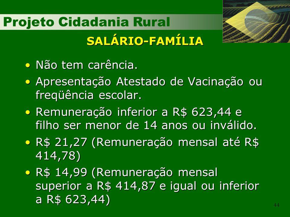 Projeto Cidadania Rural 44 SALÁRIO-FAMÍLIA Não tem carência.Não tem carência. Apresentação Atestado de Vacinação ou freqüência escolar.Apresentação At