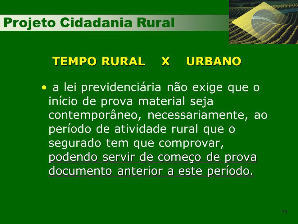 Projeto Cidadania Rural 58 TEMPO RURAL X URBANO podendo servir de começo de prova documento anterior a este período. a lei previdenciária não exige qu