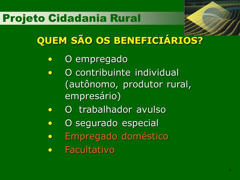 Projeto Cidadania Rural 6 O empregadoO empregado O contribuinte individual (autônomo, produtor rural, empresário)O contribuinte individual (autônomo,