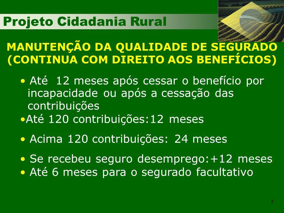 Projeto Cidadania Rural 29 RENDA MENSAL - APOSENTADORIA (IDADE RURAL) TRABALHADOR RURAL EMPREGADO, TRABALHADOR AVULSO E CONTRIBUINTE INDIVIDUAL AUTÔNOMO IDADE: 55 mulher e 60 homemIDADE: 55 mulher e 60 homem RENDA MENSAL:RENDA MENSAL: Até 06/2006 - Salário mínimo, para os segurados que não contribuem e média para os que contribuem; Até 06/2006 - Salário mínimo, para os segurados que não contribuem e média para os que contribuem; A partir de 06/2006 – Média (80% dos maiores salários-de-contribuição).